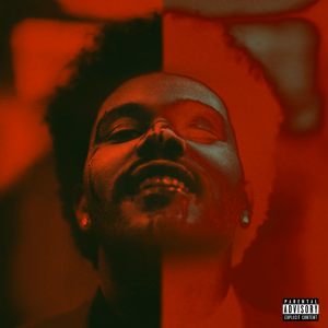 "Cover de l'album ""After Hours"" de The Weeknd, sorti en mars. Il sourit, le visage ensanglanté, et est d'une moité normal, l'autre en négatif"