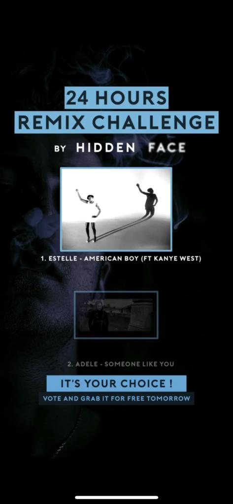 image de la story de l'artiste Hidden Face poyur annoncer son concept sur Instagram