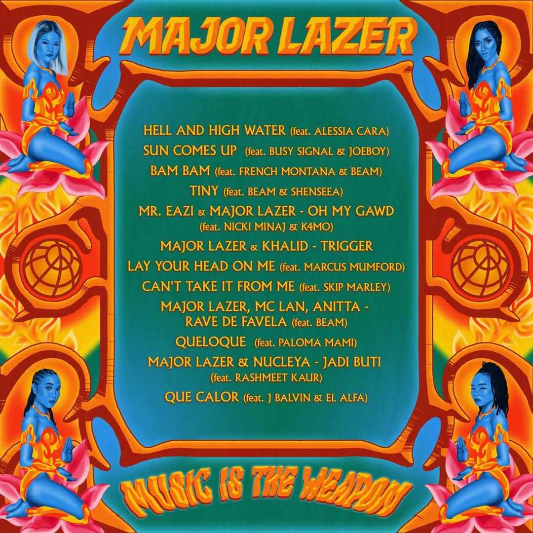 """tracklist de """"Music is the weapon"""" le 4eme album des Major Lazer"""