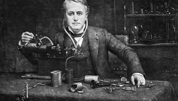 Thomas Edison laboratoire phonographe
