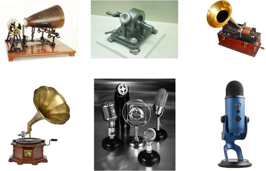 Phonautographe Martinville Phonographe Edison Gramophone Émile Berliner Microphones 20ème siècle Blue Yeti