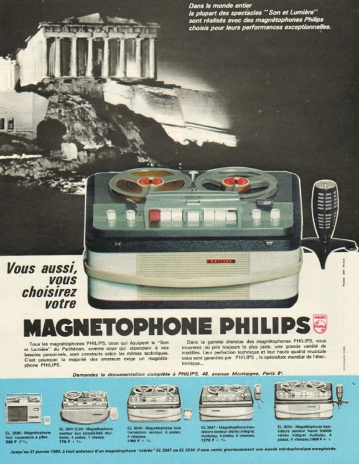 Publicité française premier magnétophone Philips 1963
