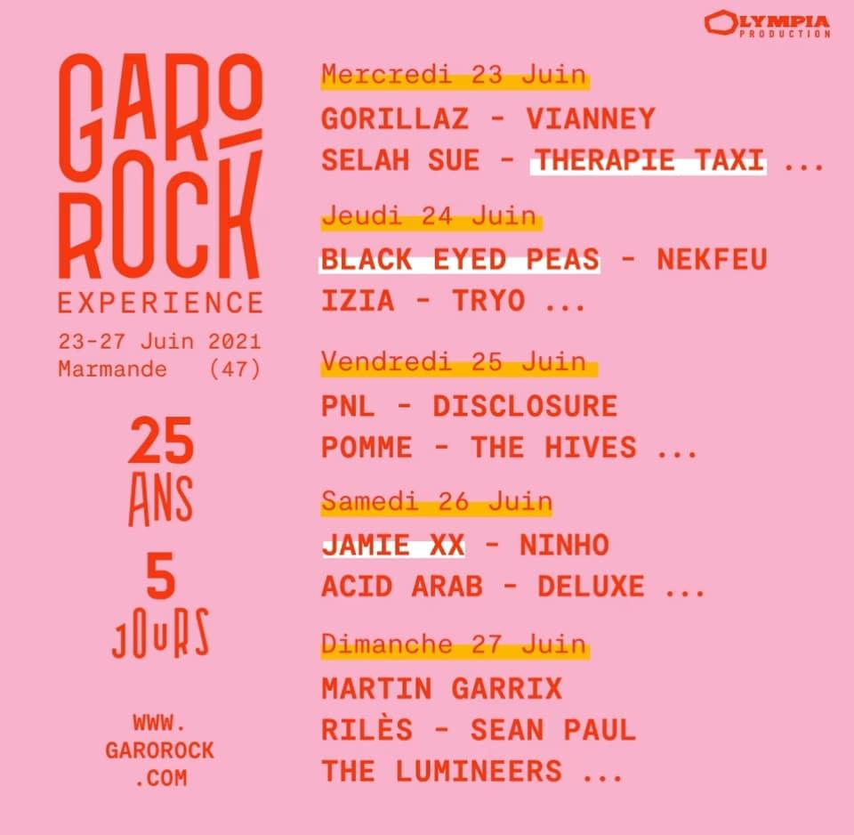 Line-up du festival Garorock